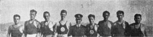 1934 İzmit ' e giden Kürekçilerden bir grup Faruk Umay - Bedii Gorbon - Ali Sungur Gürsoy - Emcet Ali Sander - Haluk Sadak - Cengiz Kut - Nevin Hassan