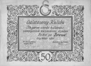 BEDIA TESEKKUR-GS - 50 YIL